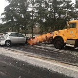 "PHOTO COURTESY OF WASHINGTON COUNTY SHERIFF'S OFFICE - The caption for this Sheriff's Office photo reads, ""Please drive slow. This vehicle had snow chains on and still lost control. Non injury."""