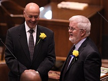 TIMES PHOTO: JAIME VALDEZ - Sen. Richard Devlin, right, is the chief budget-writer for the Oregon State Senate.