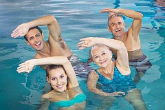 SUBMITTED PHOTO  - Aqua Yoga is a new class being offered by Lake Oswego Parks and Rec. The class is taught at The Springs at Carmen Oaks.