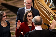 TIMES PHOTO: JAIME VALDEZ - Gov. Kate Brown was sworn into the next two years of office this week. She faces an immediate budget shortfall as the Legislature gets ready to convene in two weeks.