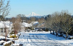 BARBARA SHERMAN - With majestic Mount Hood in the background, the Highlands also was covered with snow on Jan. 12, which was pretty but also created problems.