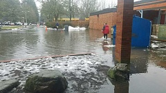 SUBMITTED PHOTO - After a series of snow days, Lake Oswego students started school two hours late on Dec. 18. But reminders of the recent storms -- including this flooding at Lakeridge Junior High -- were everywhere.