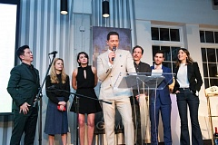 COURTESY: ALLYSON RIGGS/NBC - The third and final 'Grimm' gala was a bittersweet affair as castmembers reminisced of their time together on stage as the show comes to an end. (Left to right) Reggie Lee, Claire Coffee, Jacqueline Toboni, Sasha Roiz, Silas Weir Mitchell, David Giuntoli, and Bree Turner.