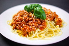 SUBMITTED PHOTO  - Beef Bolognese sauce over pasta is on the menu for Friday, Feb. 17. Lunch is served three days a week at the LOACC, and starting in March, you can join the Sunday Supper Club and the Tuesday Salad Bar.