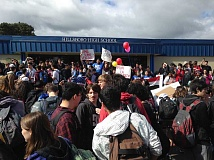 HILLSBORO TRIBUNE FILE PHOTO - Students at Hillsboro High School walk out of class in 2016. On Thursday, hundreds of Latino students stayed home as part of a national protest against President Donald Trump's immigration policies.