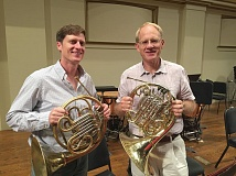 COURTESY OF THE ST. LOUIS SYMPHONY - Roger Kaza, at right with Christopher Dwyer of the St. Louis Symphony, returns to the Portland Youth Philharmonic for a performance.