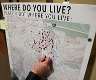 OUTLOOK PHOTO: ZANE SPARLING - Most of the attendees at a trail open house were residents of Troutdale, according to this map placed at the event by Metro regional government staff.