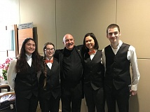 PHOTO COURTESY OF LARRY JACKSON - Pictured are: Allison Wills, alto saxophonist; Destiny Huffman, flutist; Gilroy; Hayden Liao, euphonium; and Cory Tobin, clarinetist.