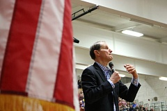 OUTLOOK PHOTO: ZANE SPARLING - U.S. Senator Ron Wyden addresses a crowd of onlookers at a town hall event at David Douglas High School on Saturday, Feb. 25 in Portland.