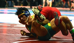 TIMES PHOTO: MATT SINGLEDECKER - Aloha 145-pound senior Juan Lopez took third overall at the Class 6A state championship.