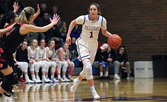 PMG PHOTO: JIM BESEDA - La Salle senior guard Aleah Goodman and the top-ranked Falcons may be the best team at any classification in the state of Oregon. They open the Class 5A state tournament against Putnam at 1:30 p.m. Wednesday at Gill Coliseum in Corvallis.