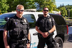 CONTRIBUTED PHOTO - Officer Jim Leake, left, and Dan Estes were chosen as the original members of the Neighborhood Enforcement Team because of their experiences and interests.