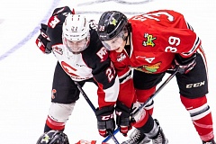 COURTESY: BRETT CULLEN - Colton Veloso (right) of the Portland Winterhawks gets ready for a face-off Friday night at Prince George.