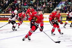 COURTESY: BRETT CULLEN - Brett Cullen of the Portland Winterhawks goes on the attack against the Prince George Cougars on Sunday night.