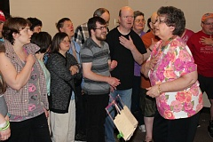 SUBMITTED PHOTO - Carole Mathews's enthusiasm is evident every time she leads the Community Enrichment and Learning Center choir in song.