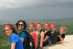 SUBMITTED PHOTOS - At the Xuantunich ruins in Belize, are, left to right, Hannah Teel, Alanna Murphy, Isabella Cannelos, Cassidy Paasch, Maia McNamara, Kyla Wheeler and Paige Olson.