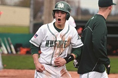 PHIL HAWKINS - North Marion senior Dylan Doubrava celebrates scoring a go-ahead run in the Huskies' 6-3 victory over Gladstone in the first of back-to-back home wins on March 28.