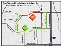 SUBMITTED PHOTO - During the road closure between Boeckman Road and Villebois Drive, a detour route along Boberg Road, Barber Street, Costa Circle and Villebois Drive will be available.