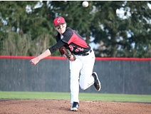 REVIEW/NEWS PHOTO: JIM BESEDA - In five appearances, Clackamas' K.C. Reilly is 3-0 with a 3.29 ERA. He has pitched 17 innings, allowing eight runs on 17 hits with eight walks and 14 strikeouts.