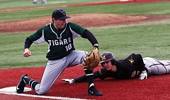 DAN BROOD - Tigard High School senior Riley Williams (left) could be a key player at first base, and on the mound, for the Tigers this season.
