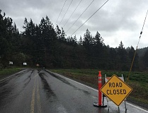 SPOKESMAN PHOTO: CLAIRE GREEN - Rural sections of Wilsonville Road were closed April 7 due to downed trees. However, despite widespread power outages throughout the Portland metro area, PGE reported that Wilsonville has only been minority affected.