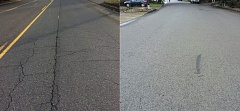 COURTESY OF THE CITY OF TUALATIN - This side-by-side view of roads in Tualatin shows, on left, a street with a poor pavement condition index (105th Avenue), and on right, a street with a very good pavement condition index (Cheyenne Way).